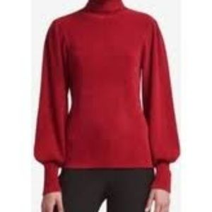 DKNY red chenille turtleneck sweater